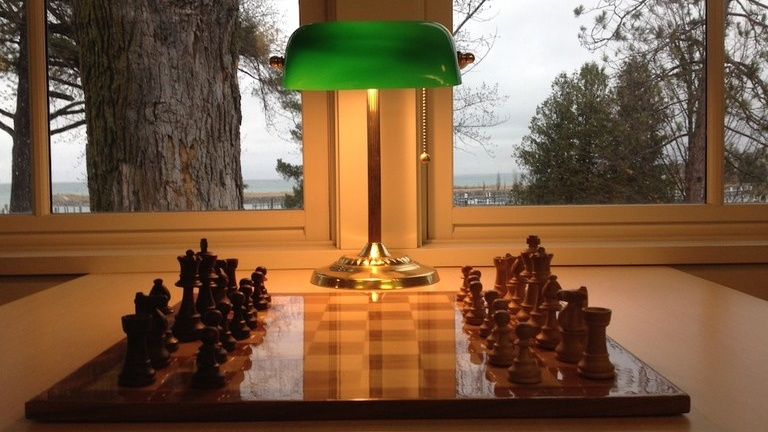 chess on the porch